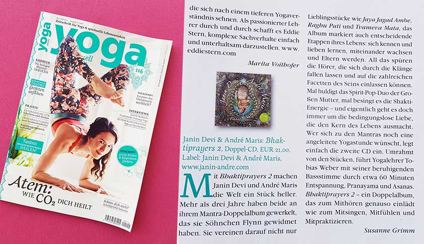 "Bhaktiprayers 2 CD review in ""Yoga Aktuell"""